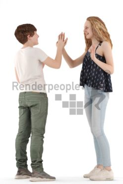 3d people casual, white 3d kids standing and playing