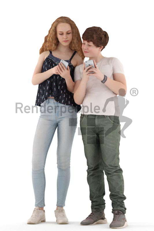 3d people casual, white 3d kids standing and playing with their phones