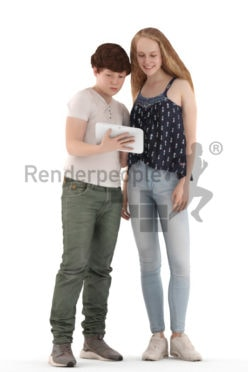 3d people casual, white 3d kids standing and showing something on a tablet