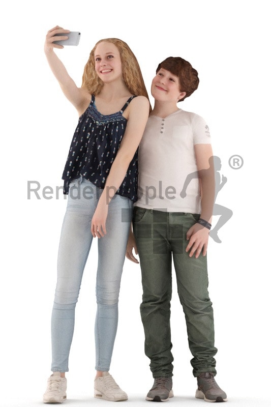 3d people casual, white 3d kids standing and taking a selfie