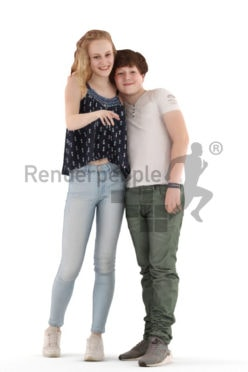 3d people casual, white 3d kids standing and pointing at something