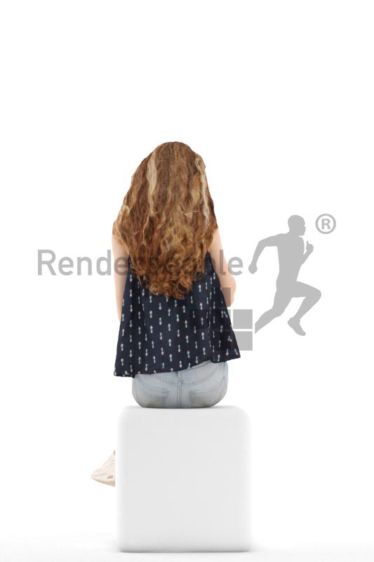 3d people kids, white 3d child sitting and calling