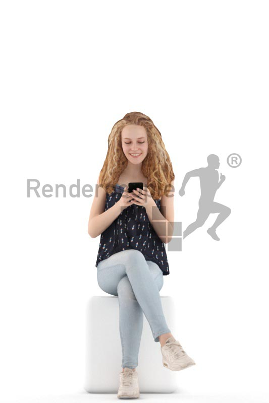 3d people kids, white 3d child sitting and typing on her phone