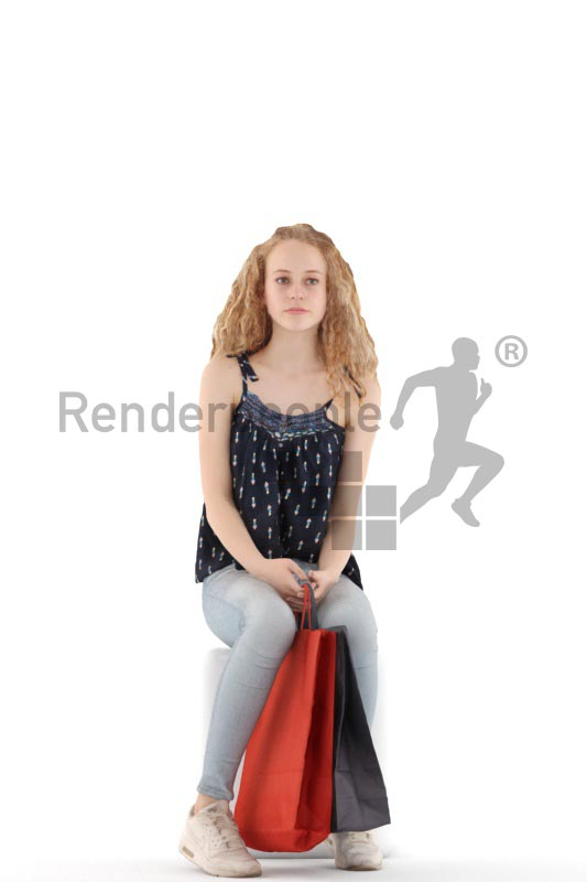 3d people kids, white 3d child sitting, waiting with shopping bags