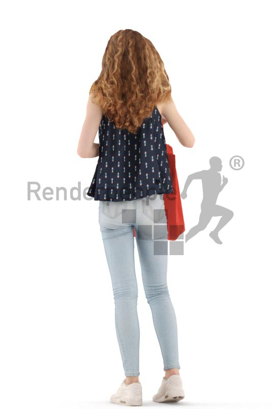 3d people kids, white 3d child standing, looking into a shoppnig bag