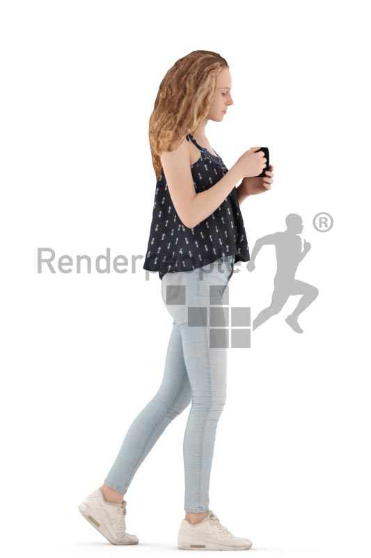 3d people kids, white 3d child walking with a cup