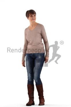 3d people casual, eldery white 3d woman walking