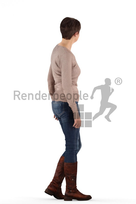 3d people casual, eldery white 3d woman walking