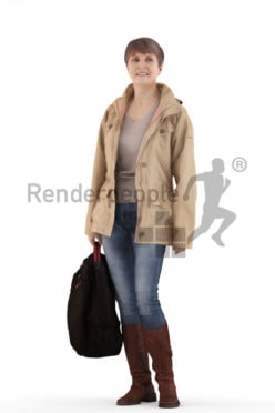 3d people casual, eldery white 3d woman standing and holding her bag