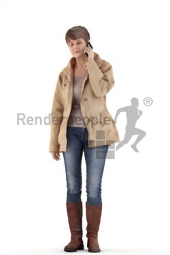 3d people casual. best ager woman calling somebody with her phone
