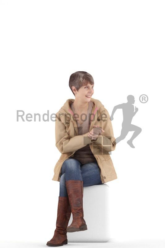 3d people casual best ager woman sitting