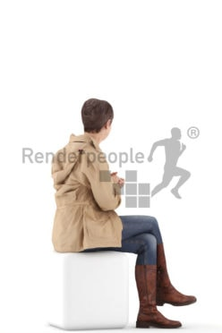 3d people casual. best ager woman sitting