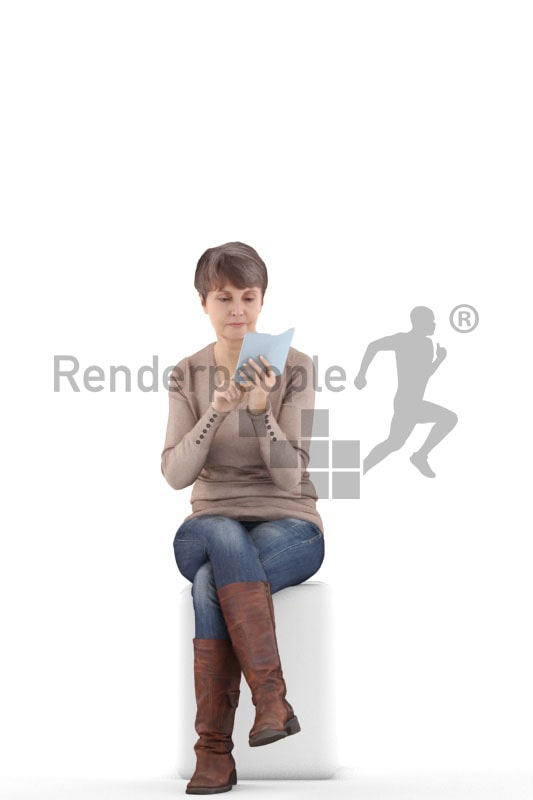3d people casual best ager woman sitting and typing on her phone