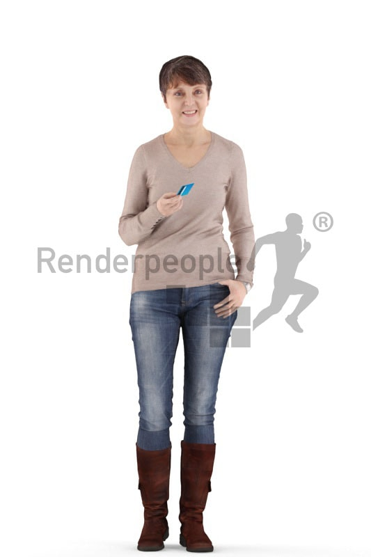 3d people casual. best ager woman standing and paying with her credit card