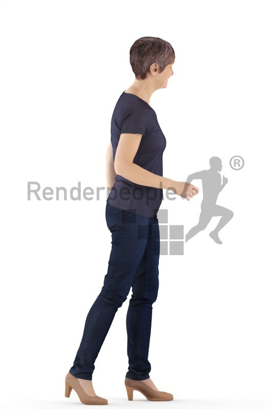 3d people casual. best ager woman walking and smiling