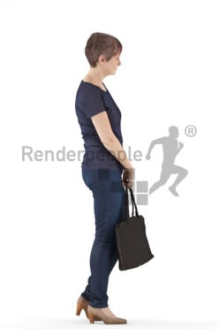 3d people casual. best ager woman standing and holding her bag