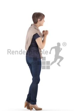 3d people casual. best ager woman standing and holding her hands