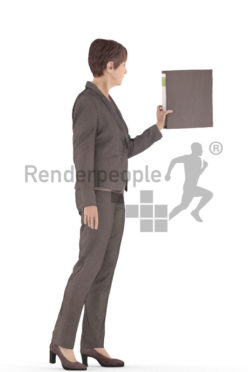 3d people business. best ager woman standing and holding a folder