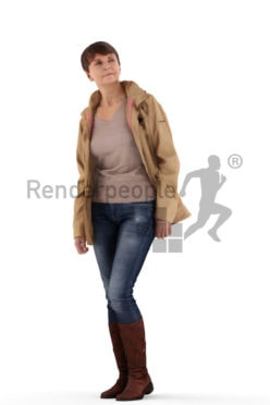 3d people casual, best ager woman standing and wearing a coat