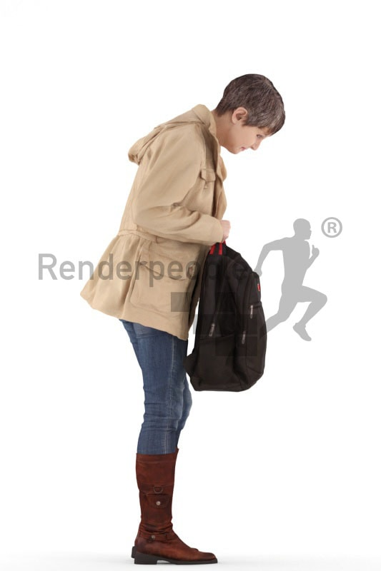 3d people casual, best ager woman standing and holding a bag