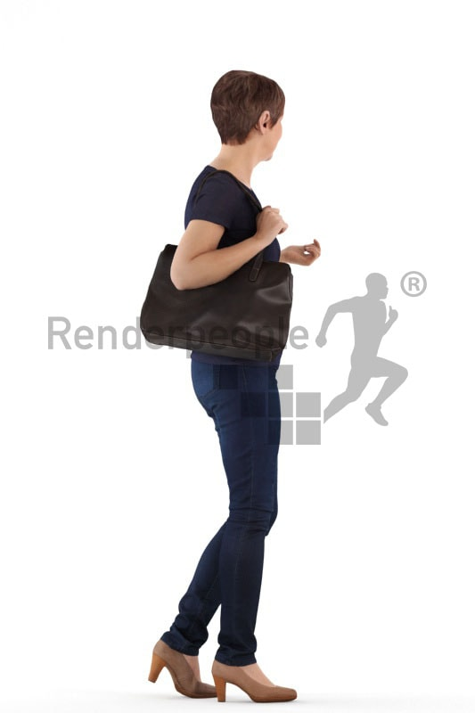 3d people casual, best ager woman walking holding a bag