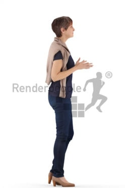 3d people casual. best ager woman standing