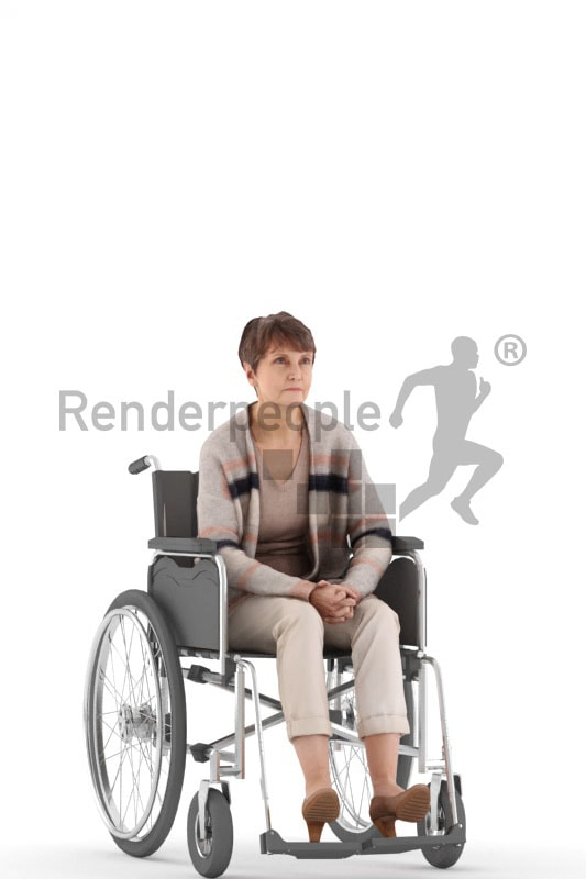 3d people casual, eldery white 3d woman sitting on her wheelchair