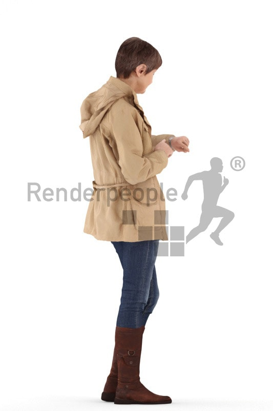 3d people casual, best ager woman standing and looking on her wrist