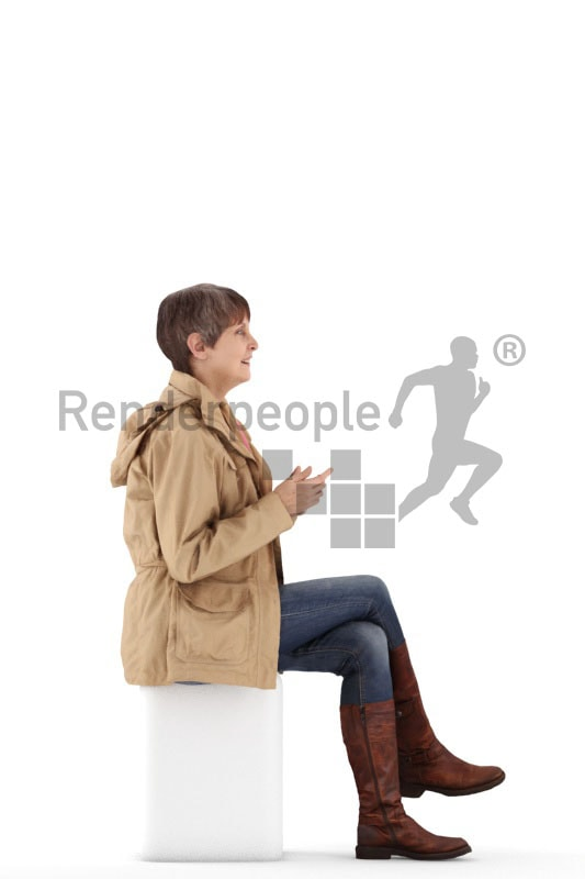 3d people casual best ager woman sitting and talking