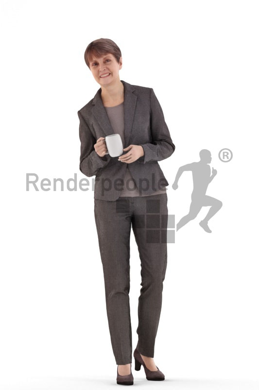 3d people business. best ager woman standing and holding a cup