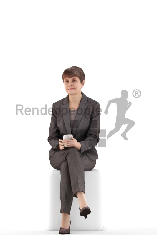 3d people business. best ager woman sitting and holding a cup