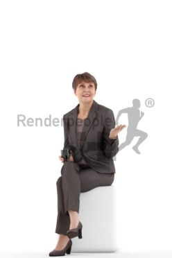 3d people business. best ager woman sitting and holding a cup and talking