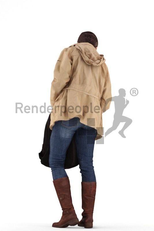 3d people casual, best ager woman standing and searching a bag