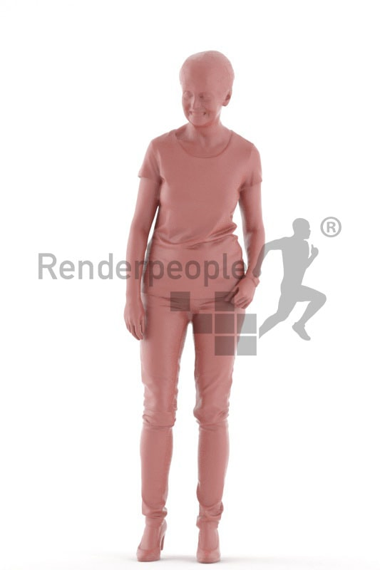 3d people casual, best ager woman standing and smiling