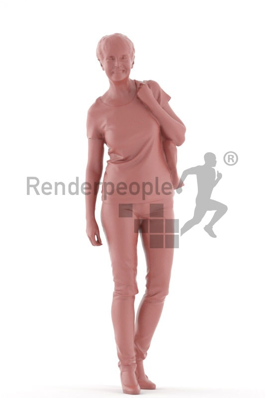 3d people casual, best ager woman walking and holding a bag