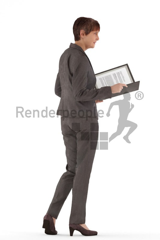 3d people business, best ager woman holding a folder and talking