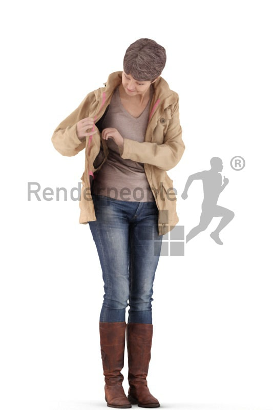 3d people casual. best ager woman standing, searching in her jacket