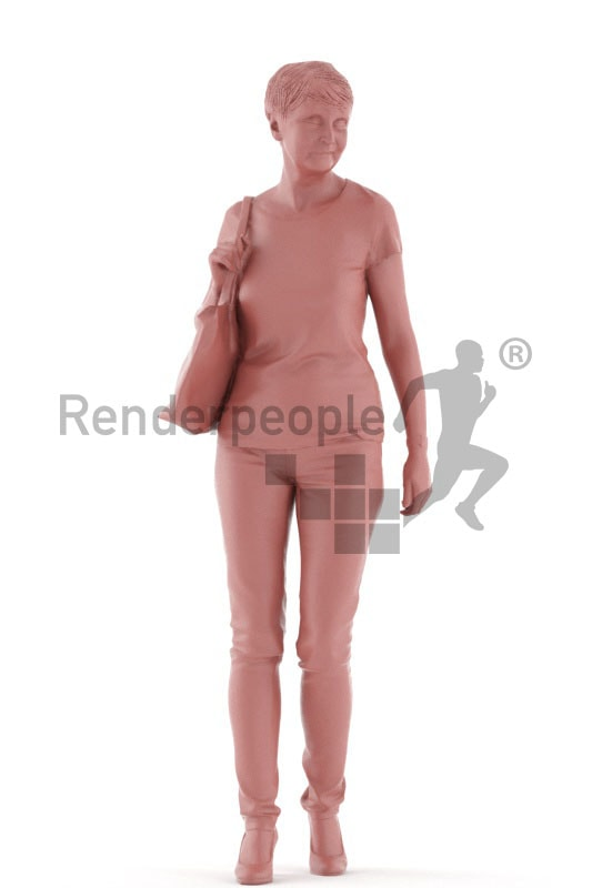3d people casual. best ager woman walking