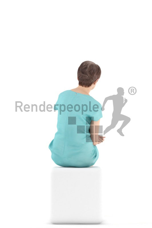 3d people casual. best ager woman sitting with a cup in her hand