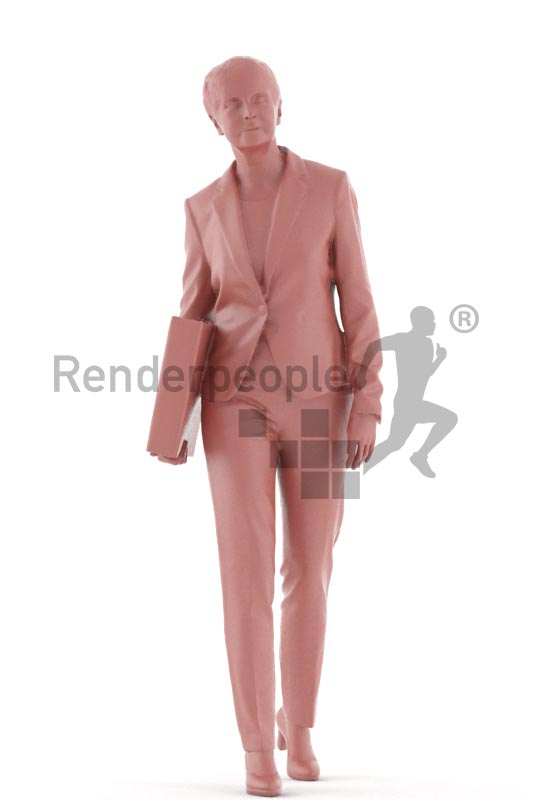 3d people business. best ager woman walking and holding a folder