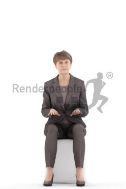3d people business. best ager woman sitting and typing