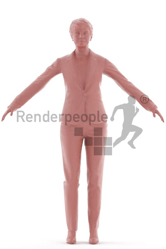 3d people buisness, rigged, elderly woman standing in a-pose