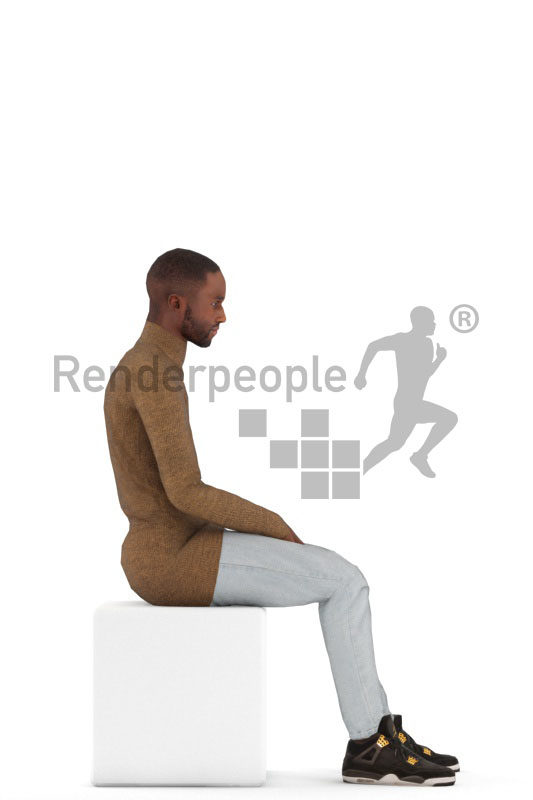 Animated human 3D model by Renderpeople – black man in casual pullover, sitting