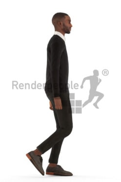 Animated 3D People model for Unreal Engine and Unity – black male in office look, walking