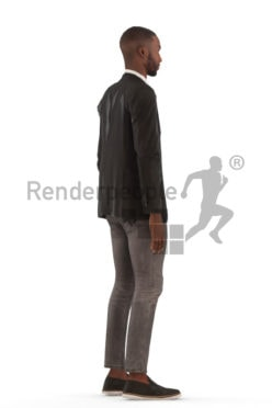 Animated 3D People model for Unreal Engine and Unity – black man, event, suit, standing