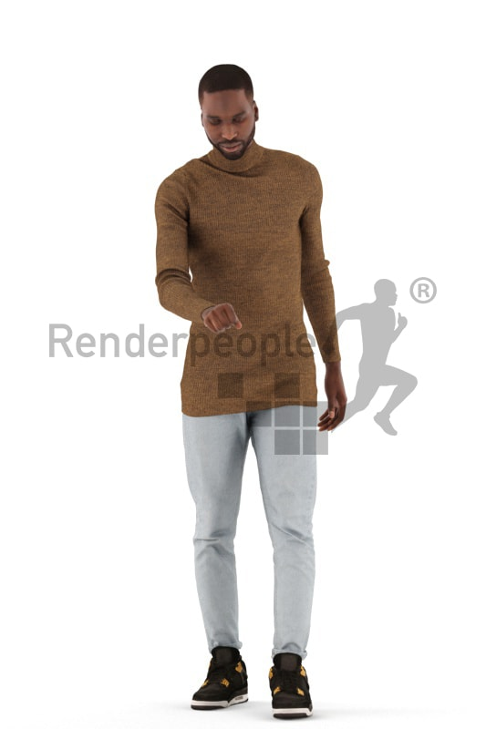3d people casual, black 3d man grabbing a doorhandle
