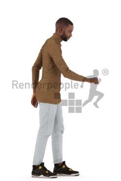 3d people casual, black 3d man grabbing a doorhandle