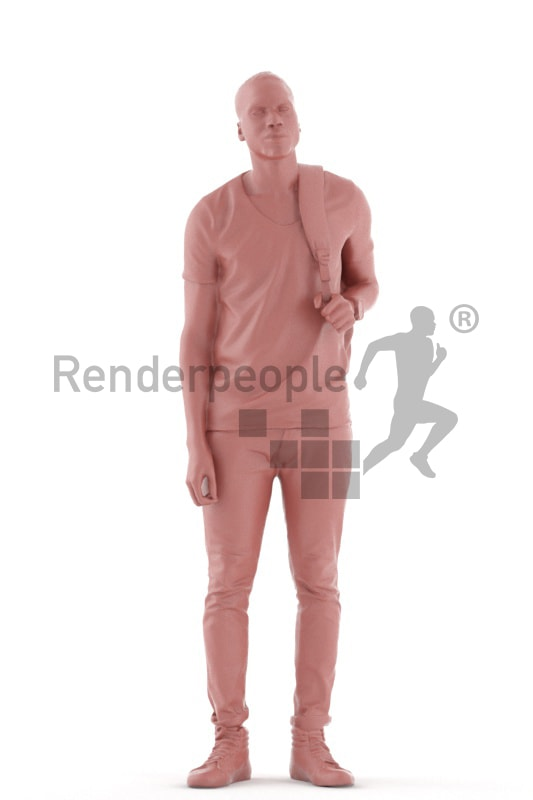 3d people casual, black 3d man standing