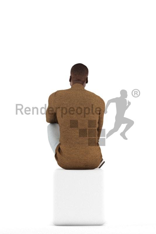 3d people casual, black 3d man sitting
