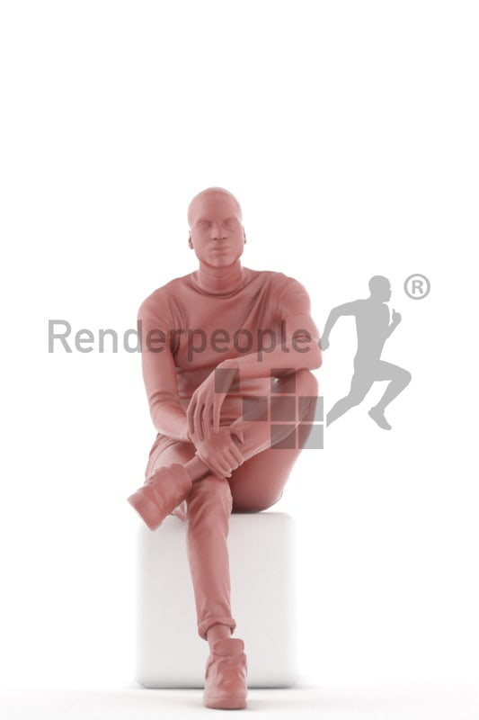 3d people casual, black 3d man sitting